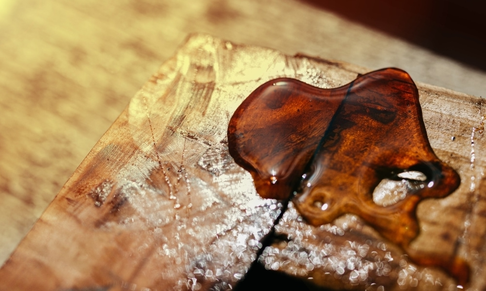 Spilled varnish on a wooden furniture