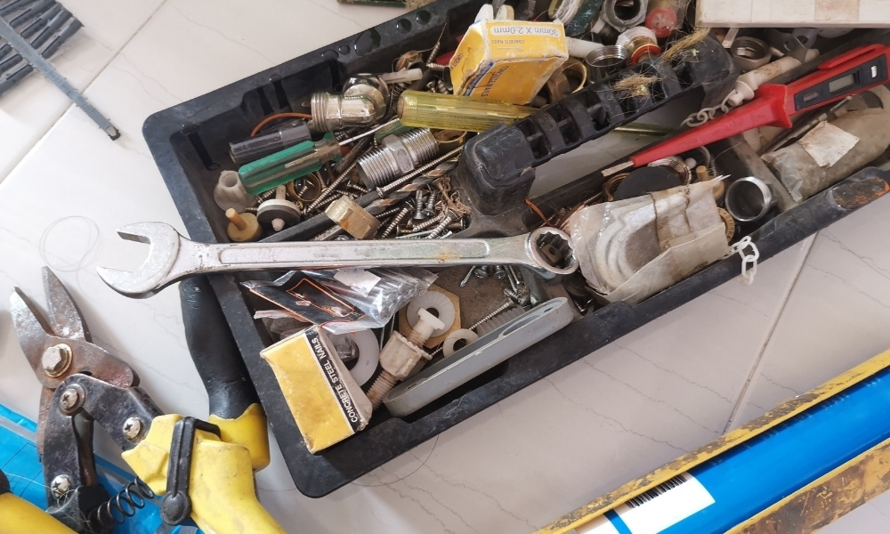 Tool box with different hand tools