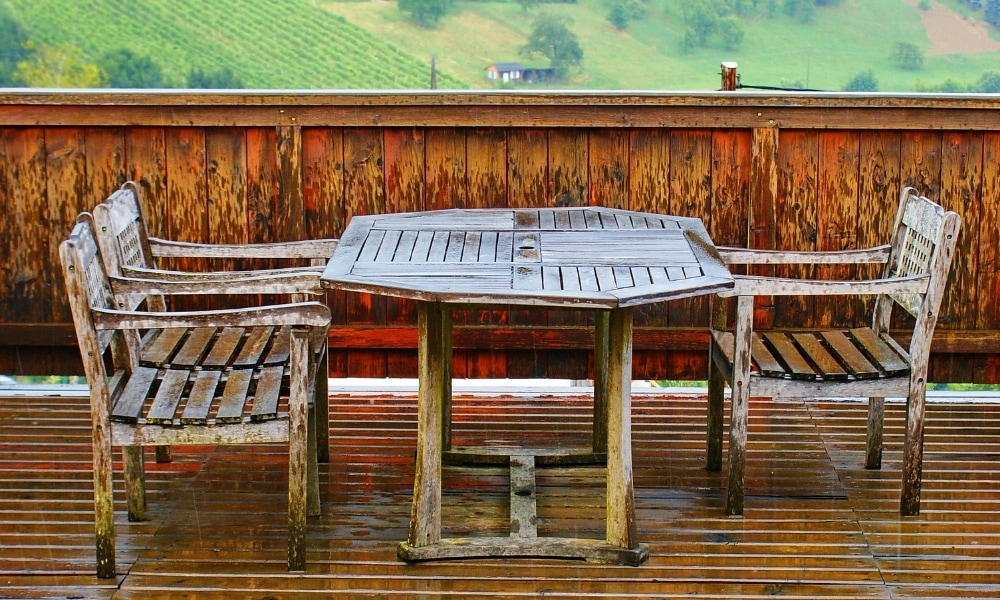 Outside stained wet furniture