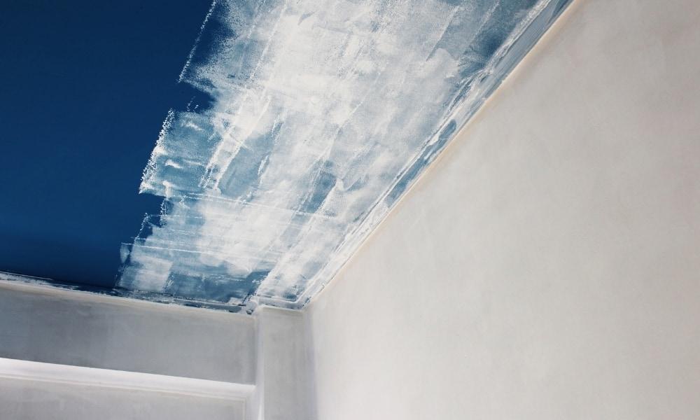 Primer on dark coated ceiling