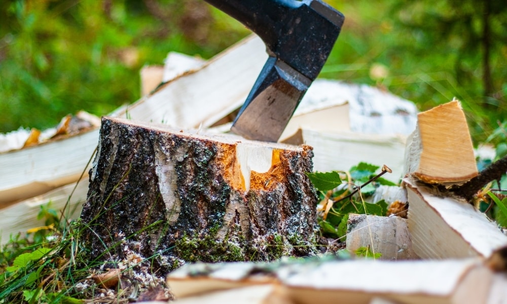 Using an axe for cutting wood