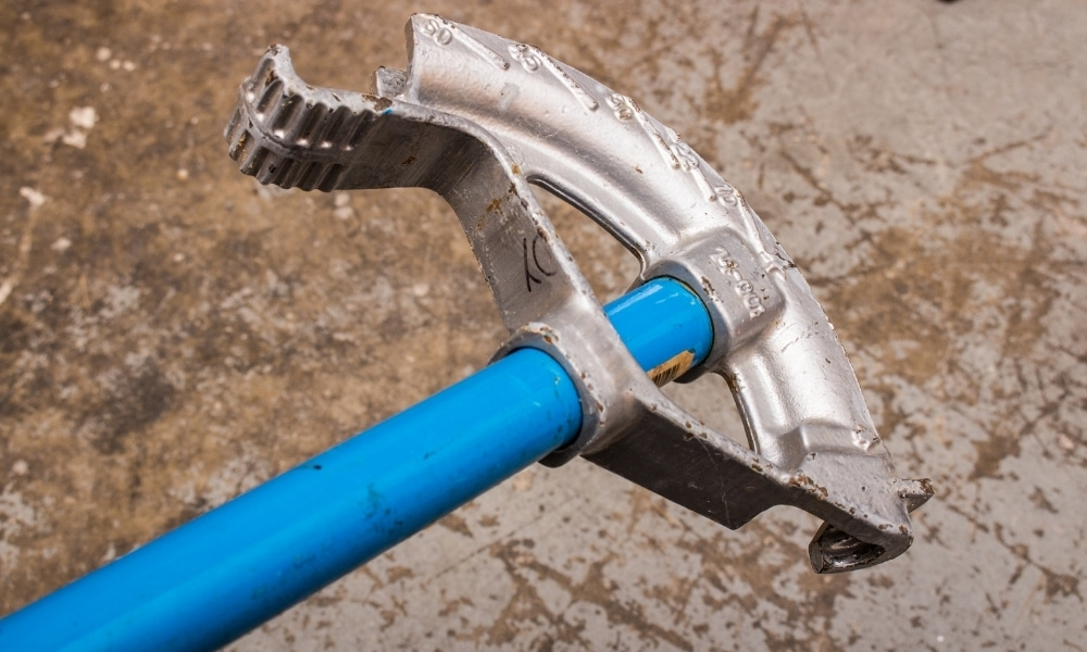 A pipe bender tool used on PVC pipe