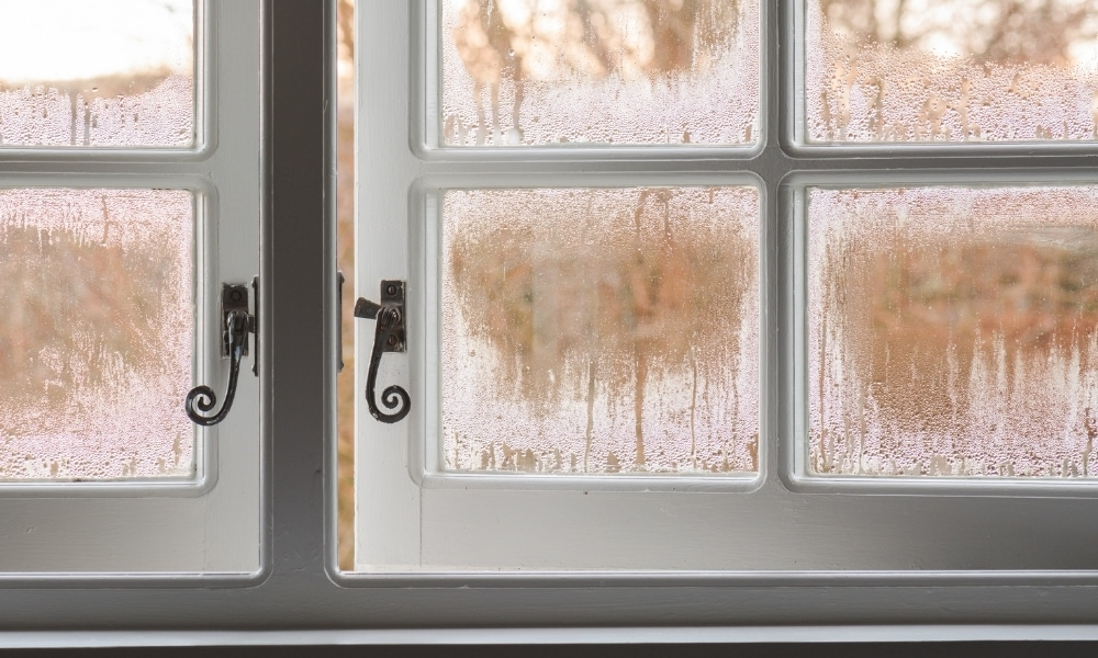 A single window glazing window with condensation building up