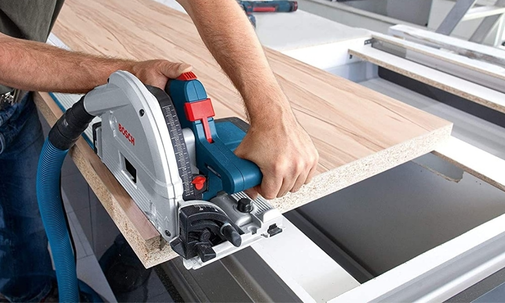 Bosch Tools Track Saw GKT13 225L set up with long board