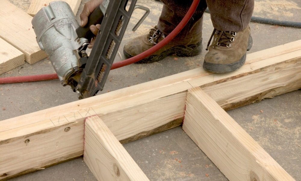 Building wall studs frame for a house