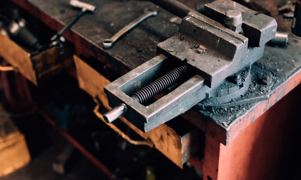 Gripping metal with a bench vise