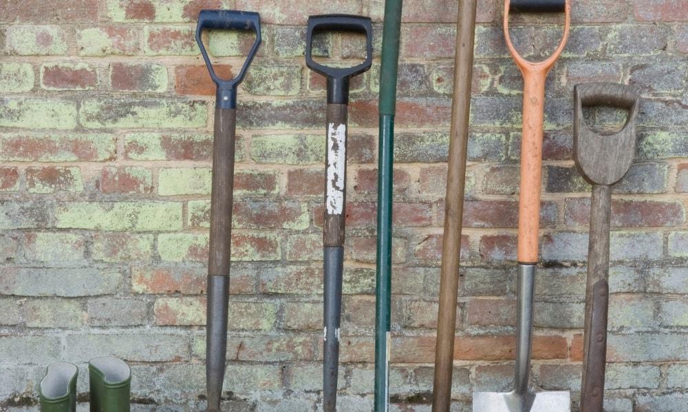 Sets of D handled shovels