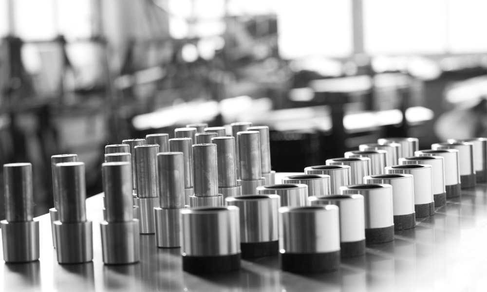 Sockets made of stainless steel lined up in factory