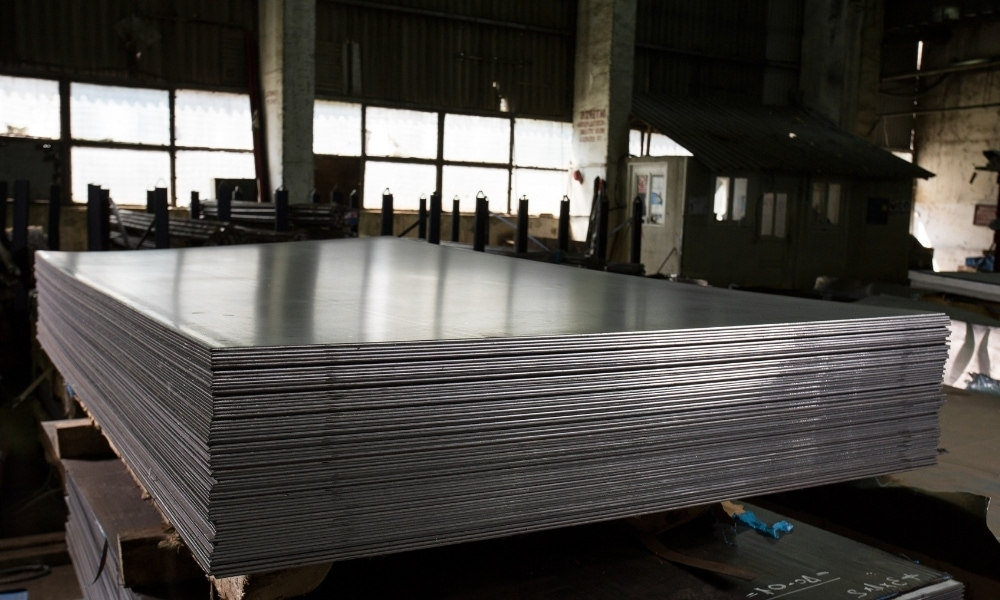 Stainless steel sheets and bars from a manufacturing plant
