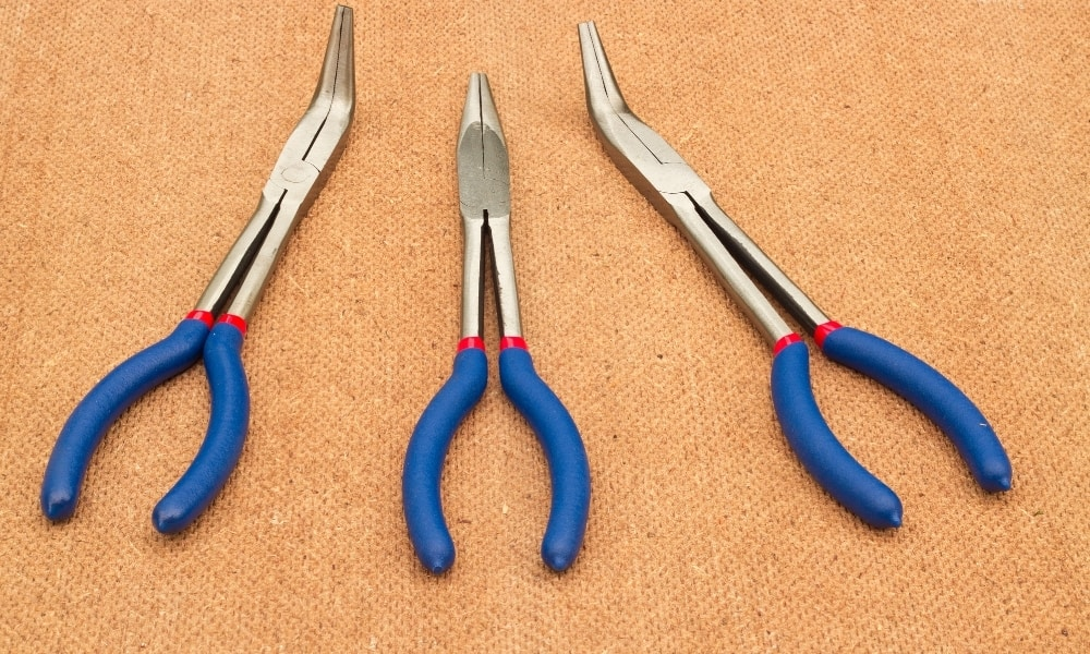 Three pieces of bnt nose pliers in different length