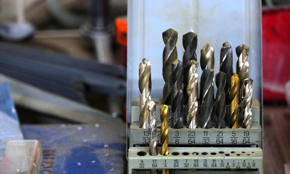 Used drill bit set for sharepening