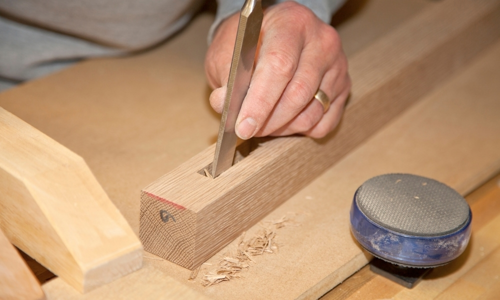 Fine tuning a rectangle cut with a mortising chisel